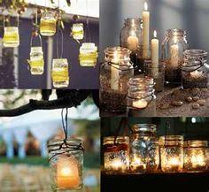 Elegant Mason Jars with CandlesSimple Mason Jar Wedding Tablescape