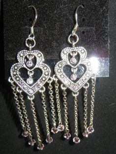 Swarovski crystal pink heart and chain earrings.
