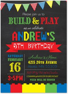 Lego Birthday Invitation Lego Birthday LEGO Invitation DIY