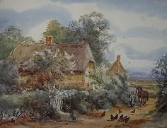 Antique Watercolour c1910 Figure by Farmstead Cottages Flwr Carlton Alfred Smith • £47.00