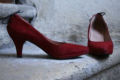 37fc2ecea3a7 Items similar to Free shipping - red suede italian pumps made in italy lace  up heel LILIAN 36.5 37 6 us 5.5 us high heels on Etsy