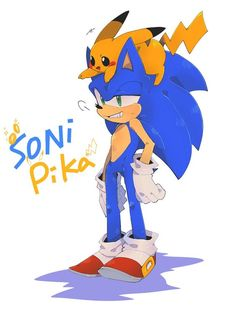 Sonic and Pikachu after the Wipeout Sonic Mania, Sonic 3, Sonic And Amy, Sonic Fan Art, Sonic Dash, Sonic Fan Characters, Nintendo Characters, Sonic The Hedgehog, Pichu Pikachu Raichu