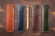 Fountain pen case  hand stitched Horween by OneStarLeatherGoods, $30.00