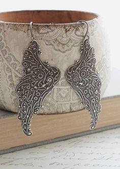 Silver Wing Earrings Long Dangle Earrings