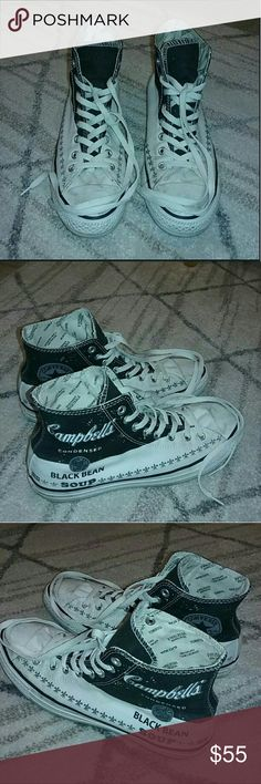 Andy Warhol Converse Andy Warhol Black Bean Soup edition Converse in great condition! Only worn twice!! Converse Shoes Sneakers