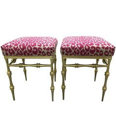 707e50e901 Pair of Gilt Metal Pink Leopard Benches