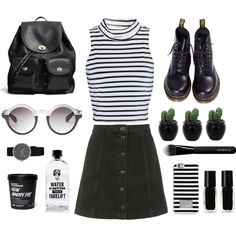 Uni Day | Design by cassie-paps on Polyvore featuring Glamorous, Topshop, Dr. Martens, Coach, MICHAEL Michael Kors, Monki, Givenchy, The New Black, Aquaovo and BloggerStyle