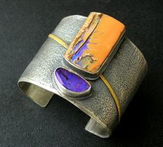 Boulder opal and silver cuff - opals by Bill Kasso