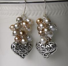 Hearts and Pearls Handmade Beaded Earrings by bdzzledbeadedjewelry, $19.00