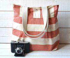 Diaper bag /  Messenger bag / Shoulder Bag / Laptop Bag / Travel Bag / Day bag STOCKHOLM Coral and Ecru Striped. $79.00, via Etsy.