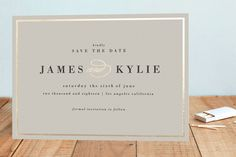 """""""Classically Stated"""" - Classical, Elegant Foil-pressed Save The Date Cards in Charcoal by roxy."""