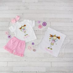 Fairy Princess - 4pc Personalized Shirt, Short and Bag Set