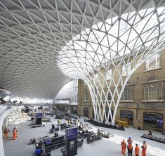 """Built by John McAslan + Partners in London, United Kingdom with date Images by Phil Adams. """"The transformation of King's Cross station by John McAslan + Partners (JMP) represents a compelling piece of place-m. Contemporary Architecture, Amazing Architecture, Landscape Architecture, Interior Architecture, London Architecture, Architecture Details, Pavillion, Building Structure, Roof Structure"""