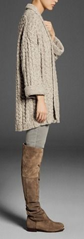 Totally doing this with CAbi's cable sweater and the brown ponte riding pants from fall 2012. Now, to get those boots! Www.amyparent.cabionline.com