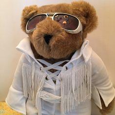 "Elvis Vermont Teddy Bear Fringed Jumpsuit Sunglasses Love Me Tender Bear 15""     eBay"
