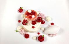 Valrhona Opalys Coconut Whipped Ganache, Raspberry Powder, Coconut Sorbet, Raspberries, Coconut Dacquoise