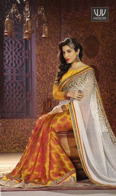 Sophie Chaudhary Mustard and White Half N Half Saree This season your look gets better definition with just a little attention to detail. Be the center of attraction with this Sophie Chaudhary mustard and white silk and georgette half n half saree. The lace, resham and zari work personifies the entire appearance.