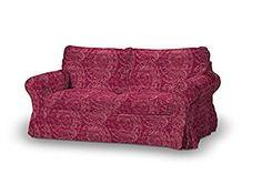 Dekoria Fire Retarding Ikea Ektorp 2-seater sofa cover - burgundy pattern