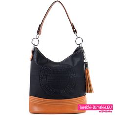 Czarna efektowna i modna torebka damska z ozdobną kokardą