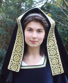 English Gable Hood in Black Velvet with Gold and Black Stiffened Jewelled Lappet-