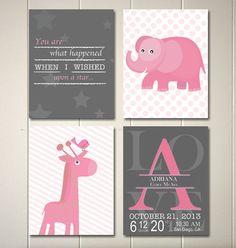 Elephant nursery art, baby girl nursery, giraffe nursery, baby monogram, pink grey nursery, baby birth details, baby wall art by PicabooArtStudio, $22.00