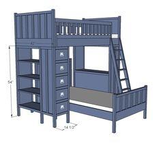 Dresser Bookshelf Support for Cabin Bunk System