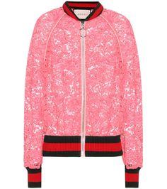 Gucci - Veste bomber en dentelle rose et bords-côtes verts et rouges
