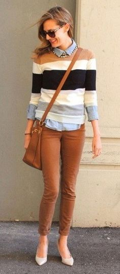what to wear with a stripped sweater : denim shirt + bag + brown skinnies + shoes