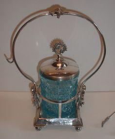 Antique Wilcox Quadruple Silver Plate Blue Cut Glass Pickle Jar Castor Excellent