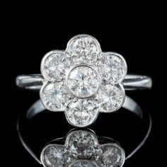 ANTIQUE EDWARDIAN DIAMOND DAISY CLUSTER RING PLATINUM 2CT OF DIAMOND CIRCA 1910 front Antique Diamond Rings, Antique Engagement Rings, Thing 1, Perfect Engagement Ring, Cluster Ring, Diamond Cuts, Antique Jewelry, Heart Ring, Daisy