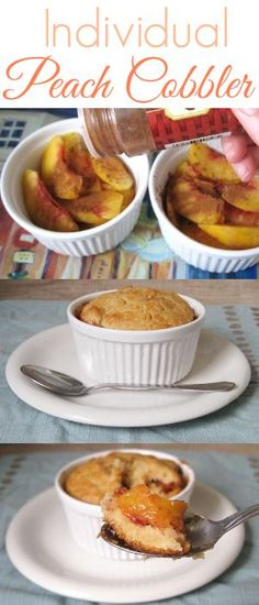 Peach cobbler made in individual ramekins make a quick, easy, delicious dessert!