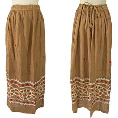 1970s Hand Embroidered Cotton Skirt Made in India offered by Ruby Lane shop Noble Savage Vintage