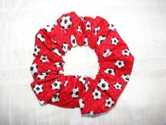 Red Soccer Fabric Hair Scrunchie Soccer balls by coloradocntry