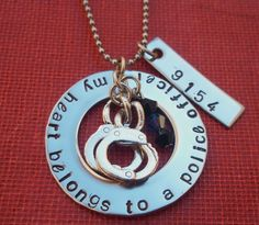 My Heart Belongs to a Police Officer Police Officer Necklace Jewelry Police Wife Gift for Police Wife.