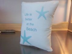 Beach pillow blue aqua cotton ocean beach by SweetMeadowDesigns, $18.00