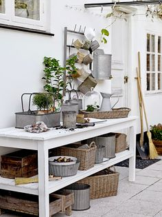 Potting Bench - With Great Baskets And Bins - Via Lilla Villa Vita: Redo For Vr Deco Boheme Chic, Greenhouse Shed, Potting Tables, Sweet Home, Potting Sheds, Garden Styles, Interiores Design, Outdoor Living, New Homes