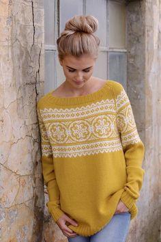 PAULINE Gullgul - Overdel - Dame - STRIKKEPAKKER Sweater Knitting Patterns, Crochet, Knitwear, Diy And Crafts, Pullover, Denim, Yellow, My Style, Sweaters