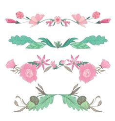 Floral vignettes in pale colors vector on VectorStock