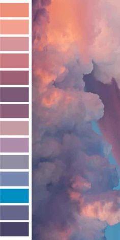 Color pallets Beautiful and oversized color palette full of sky hues Colour Pallette, Colour Schemes, Color Combos, Sunset Color Palette, Sunset Colors, Pastel Color Palettes, Summer Colour Palette, Vintage Color Schemes, Purple Palette