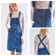 """Urban Outfitters BDG Cora Denim Overall Midi Dress We're in a denim daze with this overall-style midi dress from Urban Outfitters staple collection BDG. Fitted silhouette with cross-back straps and button-front closure with side and chest pockets.  Content + Care - Cotton - Machine wash - Imported  Size + Fit - Model is 5'10"""" and wearing size 2 Urban Outfitters Dresses"""