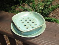 Ceramic Soap Dish and Plate, Soap Holder, Wheel Thrown Soap Dish Set - Green Stone Glaze by WheezieWorks on Etsy https://www.etsy.com/listing/239353302/ceramic-soap-dish-and-plate-soap-holder