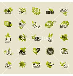 Bio product set of labels and emblems vector - by ussr on VectorStock®
