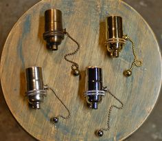 Solid Brass Light Socket, Pull-Chain Version, 4 Different Finishes - Top Quality Supplies For Your Handmade Lighting, Lamps, Pendants. $8.89, via Etsy.