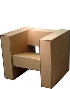 Boxylady cardboard chair from ReturDesign. Designed from cardboard to create the perfect post-holiday 'sit back and relax chair'. Cardboard Chair, Cardboard Design, Cardboard Sculpture, Cardboard Paper, Cardboard Crafts, Cardboard Boxes, Cardboard Playhouse, Furniture Making, Diy Furniture
