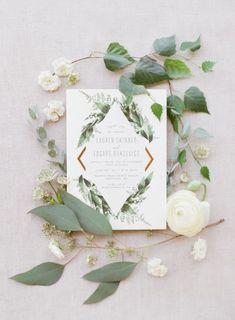 Painted Rock Winery Wedding: L+E   Blush Photography - Vancouver Wedding Photographers greenery wedding invite modern