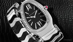 BVLGARI Serpenti Watch Black With Diamonds Bvlgari Watches, Luxury Watches, Bulgari Serpenti Watch, Bvlgari Gold, Bvlgari Diagono, Watch Companies, Mechanical Watch, Watches For Men, Diamonds