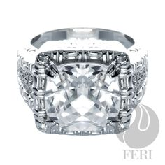 Brilliant Ring - 925 fine sterling silver 0.1 micron natural rhodium, set with:  AAA white cubic zirconia, to die for!!! Splendid! Affordable luxury
