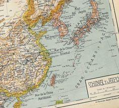 Antique Map China Japan Korea Tibet 1942,  Art Nouveau Typography, Retro Home Decor