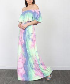 egs by éloges Purple & Pink Tie-Dye Off-Shoulder Maxi Dress - Women & Plus Tie Dye Skirt, Costume Shop, Chic Outfits, Casual Chic, Pink, Purple, Womens Fashion, Shoulder, Casual Chic Outfits