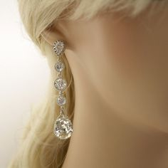 Wedding Earrings Cubic Zirconia Bridal Earrings by poetryjewelry, $50.00